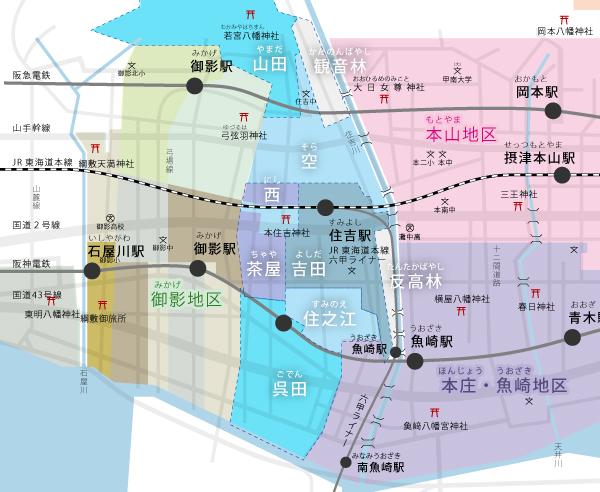 だんじり地区マップ-住吉地区