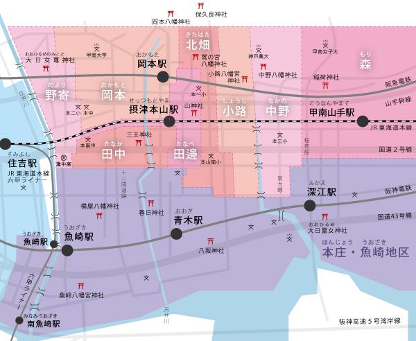 だんじり地区マップ-本山地区